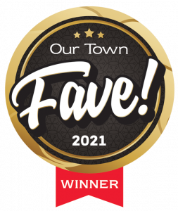 Award Ribbon for Best Property Management Company in Gainesville by Our Town, 2021